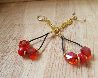 Red and Gold Earrings - Long Earrings - Leather Earrings - Thank You Gift