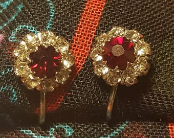 Little Red Flower Screwback Earrings