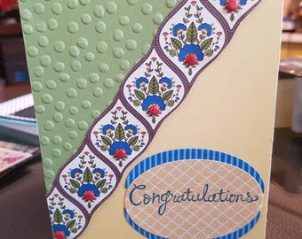 Handmade congratulations card blank inside so you can write whatever you want happy birthday I love you any occasion