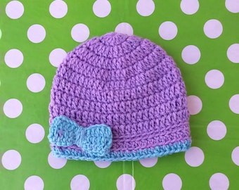 Custom Two Colors Little Bow Crochet Baby Girl Hat (Made to Order)