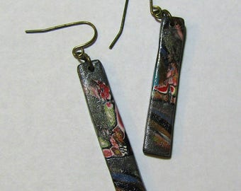 Gray, Black, and Multicolor Skinny Rectangle Polymer Clay Earrings by Carol Wilson of Je t'adorn