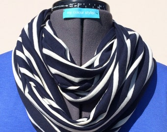 Navy stripe cotton jersey infinity scarf