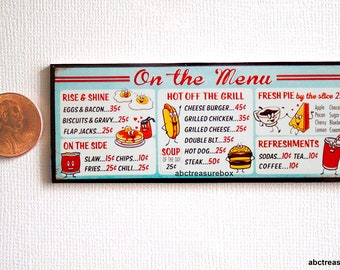 Miniature Diner Menu Board Wall Sign, Retro Style, 1:12 Scale Kitchen Restaurant, Soda Burger Hot Dog Cheesburger Coffee Pie Eggs
