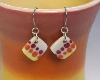 Handmade Ceramic Earrings, Porcelain Drop Earrings, Small Orange Earrings, Surgical Steel or Sterling Ear Wires, Polka Dot Earrings, Pottery