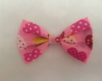 Pink hearts fabric hair bow