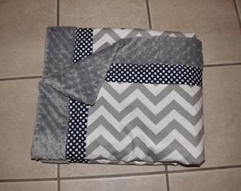 Baby blanket Navy dot and gray chevron minky dot