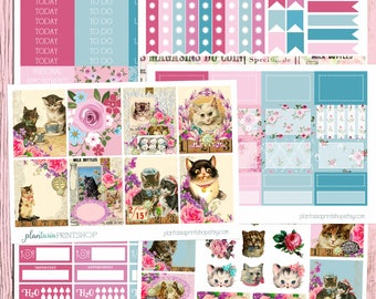Kitten Kitsch Kit, 6 to 8 pages, Sidebar, for use with Erin Condren Lifeplanner, Happy Planner, Full Box, Headers, Shabby Chic, Retro, Cat