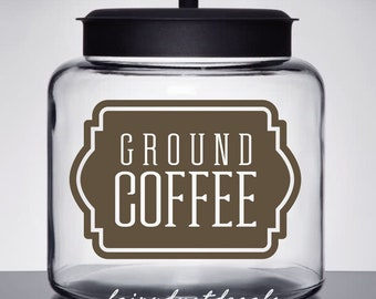 Coffee Label, Container Decal, Ground Coffee Vinyl Decal, coffee bar sticker, kitchen pantry decal label, ground coffee sign label sticker