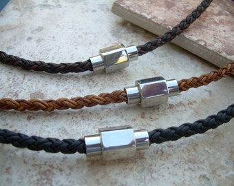 Men's Necklace, Leather Necklace, Braided Leather Necklace for Men with Hexagon Stainless Steel Magnetic Clasp, Men's Jewelry, Mens Necklace