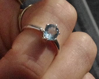 Natural Aquamarine in Sterling Silver Ring, size 5 1/2, aquamarine solitaire, March Birthstone