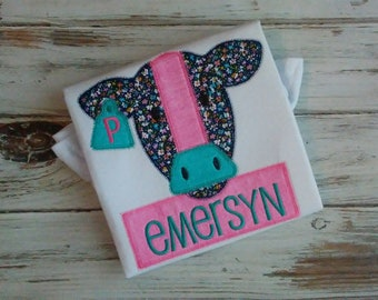 Applique Cow Shirt, Personalized Farm Shirt, Girls Cow Shirt, Farm Birthday Shirt, Navy Pink and Turquoise