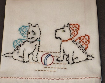 Scotch Terriers with Ball Dish Towel