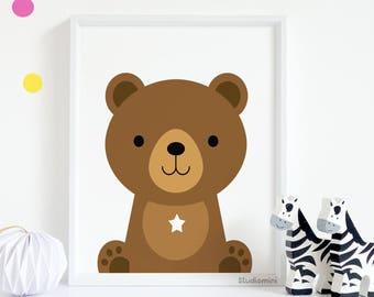 bear nursery art, Cute Bear art, 50% OFF brown bear art, brown bear illustration, bear art, bear wall decor, nursery wall art,woodland decor