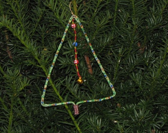 Pounded, Painted, Decorated, and Beaded Christmas Ornament
