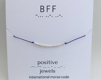 BFF Morse Code Bracelet, Friendship bracelet, personalized-Sterling Silver