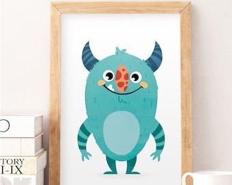 Cute monster print, Little monster, Nursery wall art, Cute monster art, Little monster baby print, Baby boy nursery, Monster decor