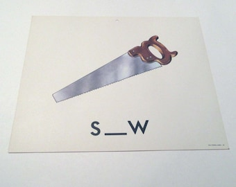 Vintage 1960s Children's Giant Sized School Flash Card with Picture and Word for Saw by Milton Bradley