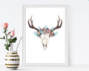 boho wall art, bohemian wall art, bull skull wall art, boho skull, boho art, flower skull art,  wall art printable, boho style, boho gift,