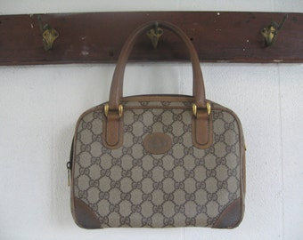 Vintage 1980's Gucci Handbag brown / 80s GUCCI Monogrammed signature printed canvas Double G Bag with wrap around zipper