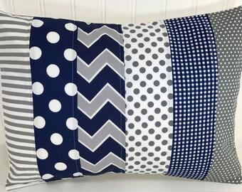 Pillow Cover, Nursery Decor, Baby Bedding, Baby Boy, Cushion, Decorative Pillows, 12 x 16, Pillow, Navy, Blue, Grey, Gray, White, Chevron
