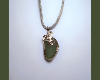 SEA GLASS PENDANT –- Green Maine Sea Glass In A Wire-Wrapped Sterling Silver Pendant -– Made In Maine