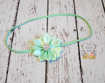 Mint Satin Flower Petite Headband with Rhinestone -  Flower Girl - Newborn Infant Baby Toddler Girls Preemie