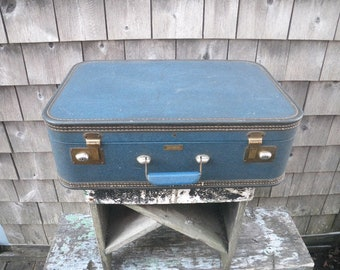 1950s Small Blue Suitcase - J.C. Higgins