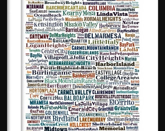 San Diego Map - Neighborhoods of San Diego Poster Print