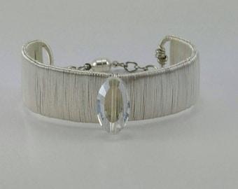 Silver wire cuff bangle with clasp