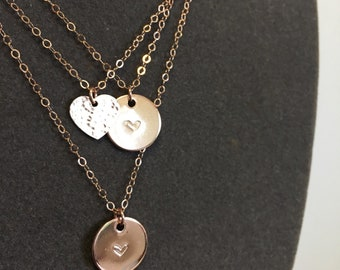 Rose Gold Charm Necklace with heart stamp