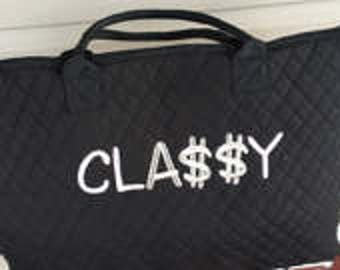 Monogram Tote, Large Quilted Shoulder Tote, Black Quilted Tote Bag, Personalized Tote Bag, Embroidered Tote
