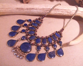 Tribal Silver  Lapis necklace  --  ethnic jewelry -- ( FREE SHIPPING SALE)