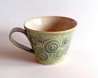 Handmade Pottery mug stoneware cup. Coffee, Latte, cappuccino, hot chocolate,mug, tea cup. Handbuilt stoneware pottery.Slip decorated.