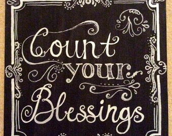 Count your Blessings, Hand Painted Canvas