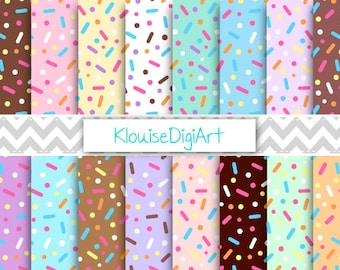 Donut Chunky Sprinkles Digital Printable Papers for Personal and Small Commercial Use (0076)