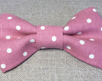 Pink spotted bow tie, pink and cream spotted bow tie, wedding bow tie, cotton spot bow tie.
