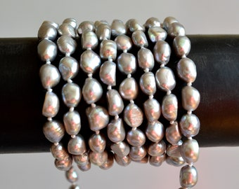 64 inches 8x10mm Rice Nugget Pearl Necklaces Silver Pearl Necklace Natural Freshwater Pearl Necklace #725
