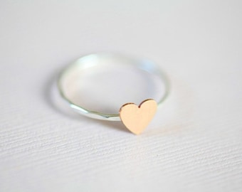 Just a tiny heart ring, dainty ring  (sterling silver ring with a gold filled tiny heart)
