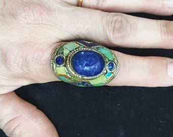 Sterling ethnic tribal lapis and turquoise ring