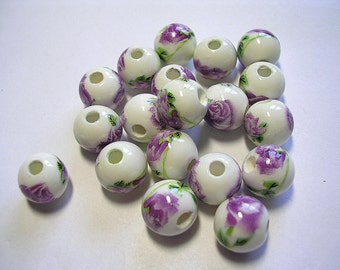 10mm Purple Porcelain Floral Rounds  Lavender Flower Beads 15 Beads Purple White Glass Rounds Light Purple Flowers Green Leaves