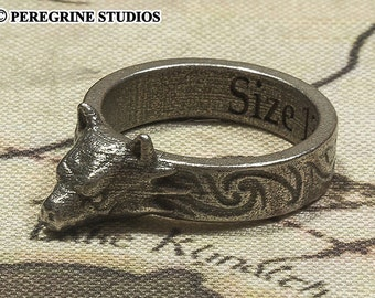 Hircine's Ring - Sizes 6 - 13 (Stainless Steel, Polished Silver)