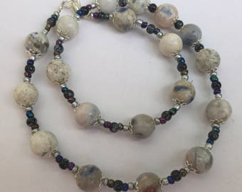 "Short light blue jasper necklace, Casual natural stone jewelry, 17"" necklace beaded choker, Unique gift for women, OOAK artisan ALFAdesigns"