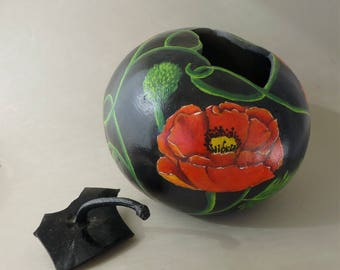 Home grown and Hand painted Art Gourd Bowl with lid.  One-of-a-kind.