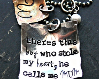 Hand Stamped Mothers Personalized Necklace