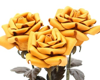 Leather rose bouquet yellow long stem leather flower third Anniversary wedding gift Valentine's Day 3rd Leather Anniversary Mother's Day