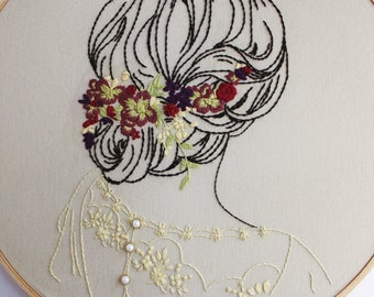 Finished Hand Embroidery *Abigail*, One of a Kind, Hoop Art, Beaded Embroidery Gift, Flowers