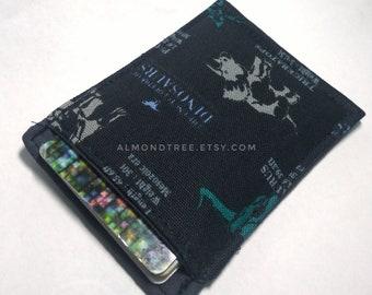 Dinosaurs, black minimalist front pocket wallet, slim card holder, portefeuille, id180407, money stash, gift for men, credit card casr