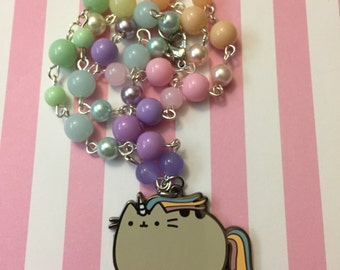Pusheen // Rainbow Unicorn // Beaded Necklace
