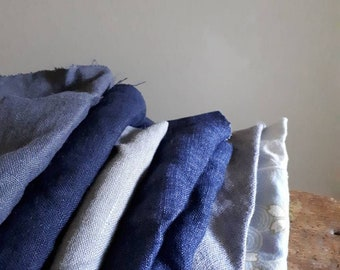 LINEN+ COTTON fabric / remnants / 10 pieces