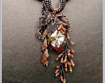 "TUTORIAL - beaded pendant ""Blackie"""